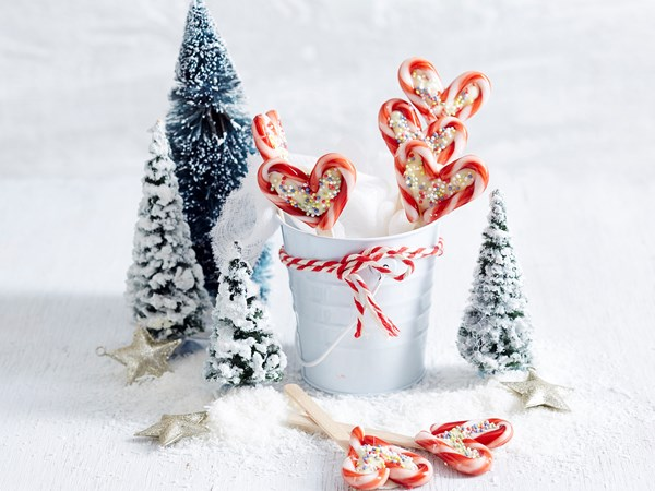 Heart candy cane pops