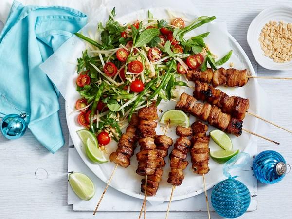 Spicy Thai pork skewers