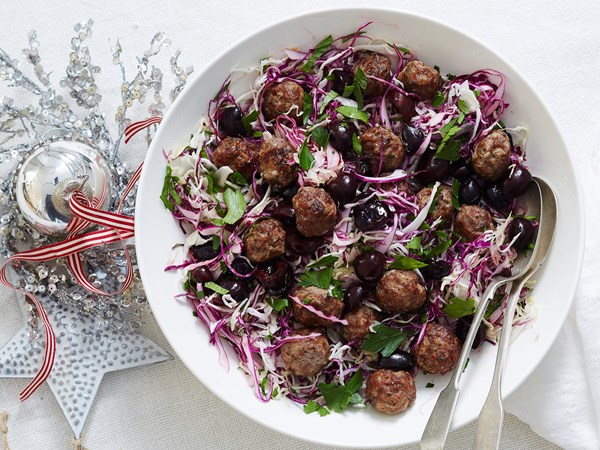 Stuffing, cherry and cabbage salad