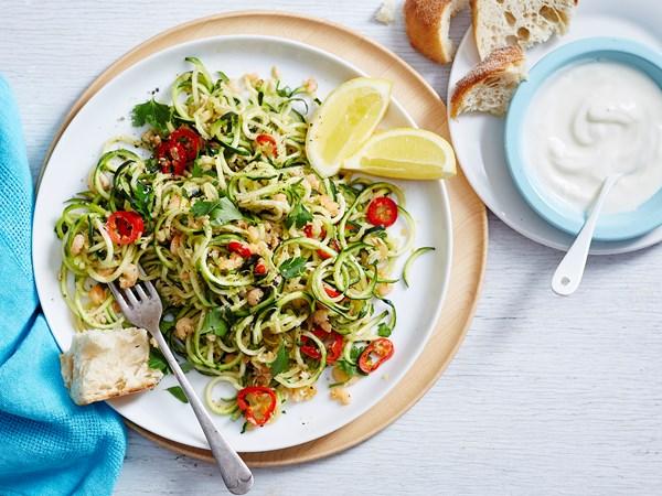 Zucchini spaghetti with seafood