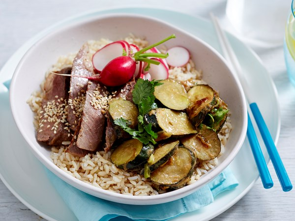 Zucchini miso rice bowl