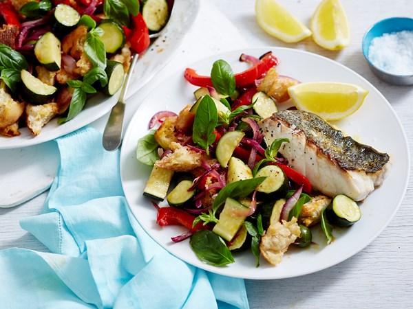 Fish with zucchini panzanella