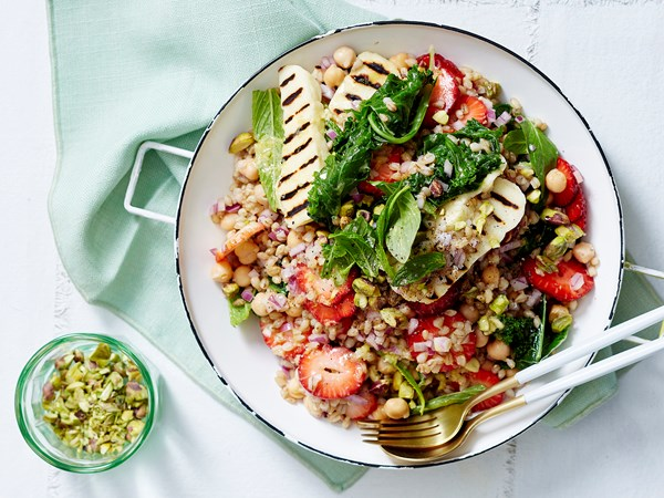 Barley, kale and strawberry salad with haloumi