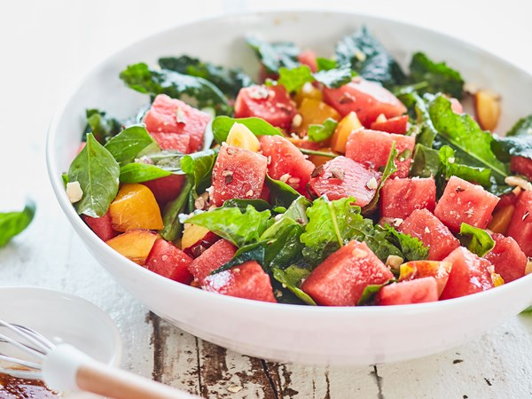 Watermelon, peach and basil salad with balsamic dressing
