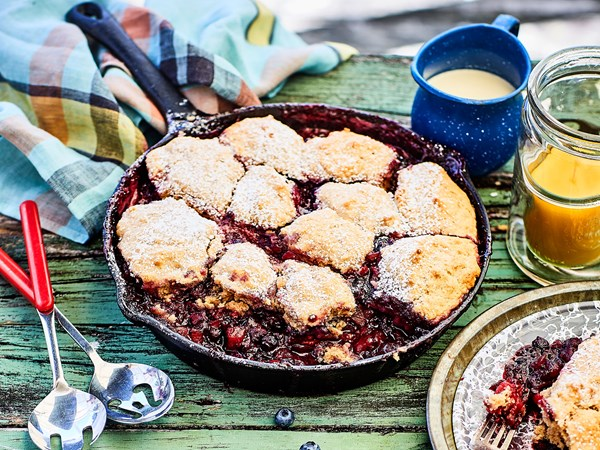 Campground apple and berry skillet cobbler
