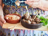 Lamb, coriander and feta meatballs with yoghurt sauce