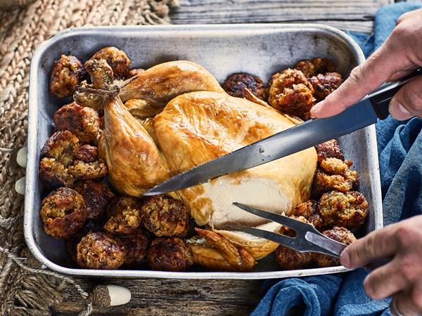 Bacon, apricot and sage stuffing balls with roast chicken