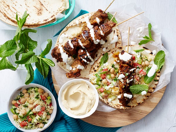 Lamb kebabs with chickpea tabouli