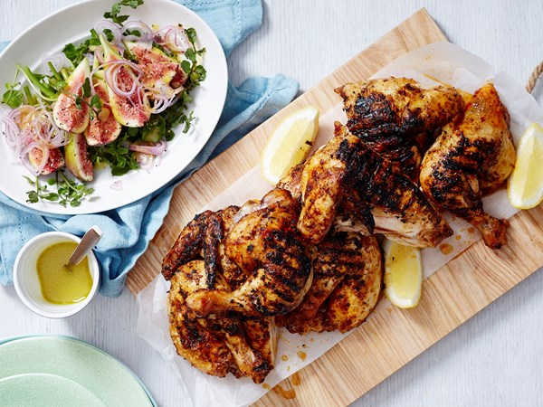 Portuguese chicken with fig and watercress salad