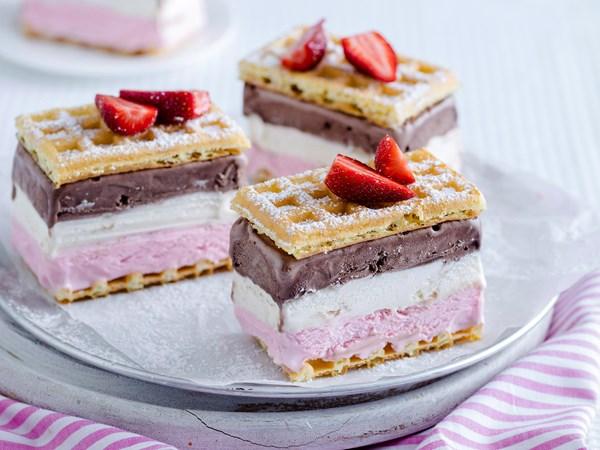 Ice-cream waffle sandwiches