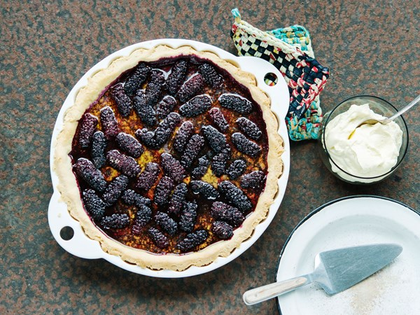 Rustic berry bramble pie with homemade pastry