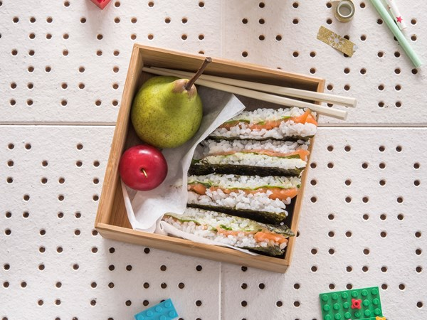 Smoked salmon and avocado sushi sandwiches