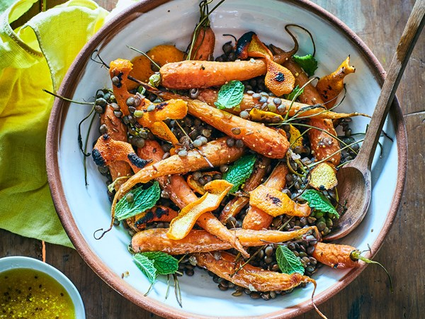 Roast carrot, burnt orange peel and lentil salad with orange mustard dressing
