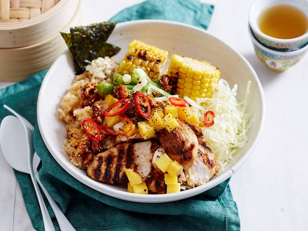 Charred chicken poke bowl
