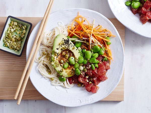 Tuna, wasabi and soy poke bowl