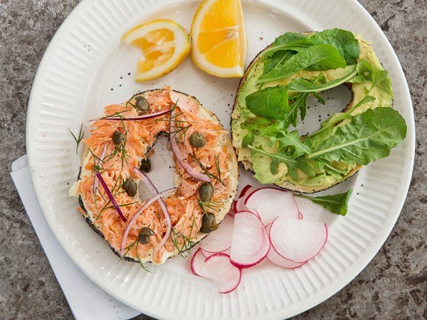 Swedish toasted bagel with smoked salmon and cream cheese