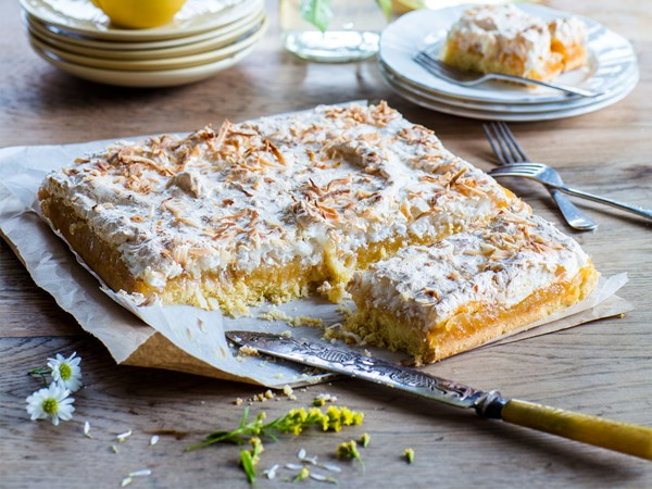 Louise slice with lemon curd and coconut