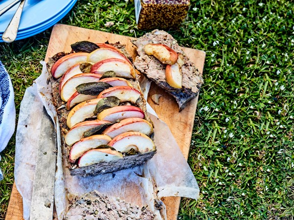 Perfect picnic meatloaf with apple and crispy sage topping