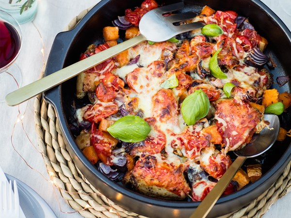 Herby Italian chicken and pumpkin bake with mozzarella