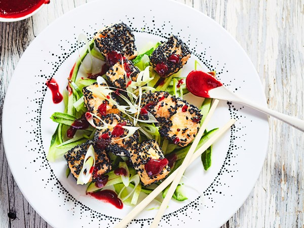 Fried tofu with sweet and spicy Chinese plum sauce