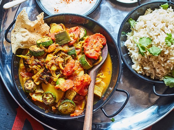 Indian-style spiced ratatouille with rice and pappadums