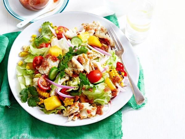 Calamari and mango salad with Bloody Mary dressing
