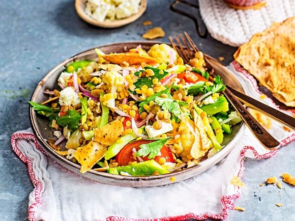 Lentil and cauliflower fattoush with lemon dressing