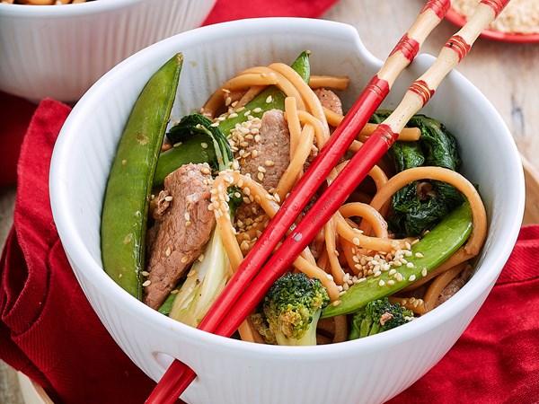 Easy char siu pork and broccoli noodle stir-fry