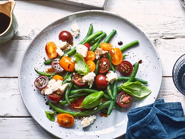 Tomato, green bean, ricotta and basil salad with balsamic glaze