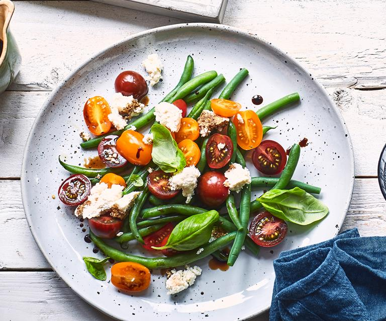 Tomato Green Bean And Ricotta Salad With Balsamic Glaze Food To Love