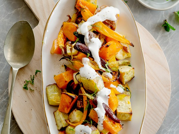 Roasted vegetable salad with coconut, lime and chilli dressing