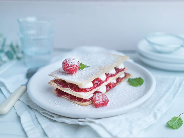 Vanilla yoghurt and berry mille-feuilles