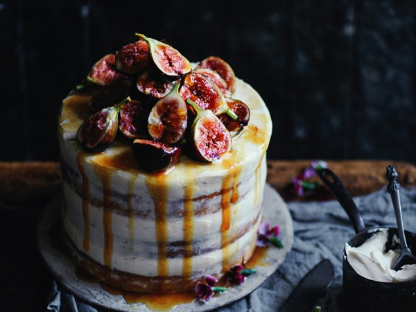 Zucchini layer cake with honeyed figs