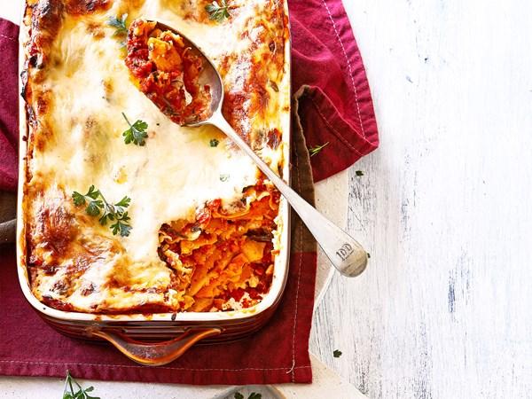 Vegetarian kumara and sundried tomato lasagne