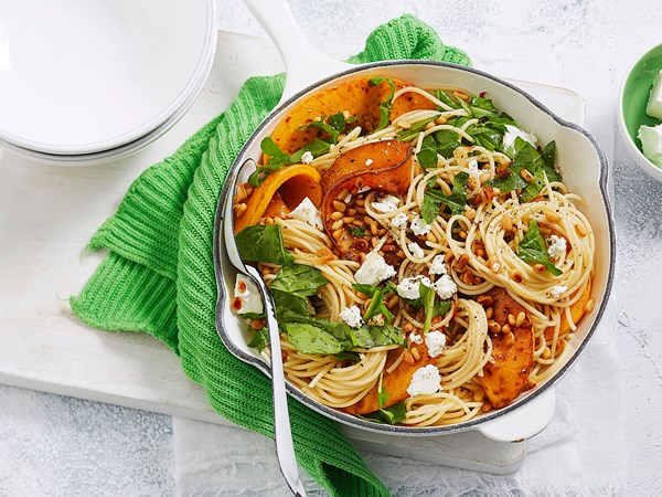 Pumpkin pasta with feta, pine nuts and rocket