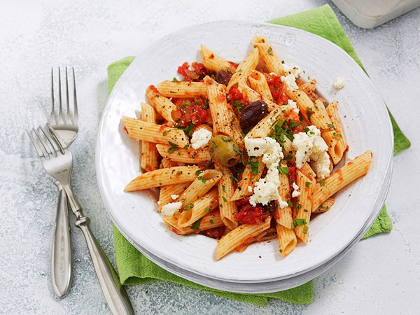 Penne pasta with Napoletana sauce and ricotta