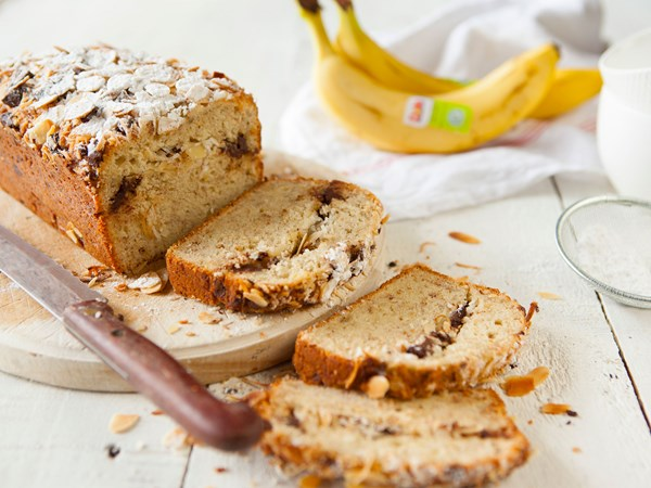 Banana, coconut and chocolate loaf