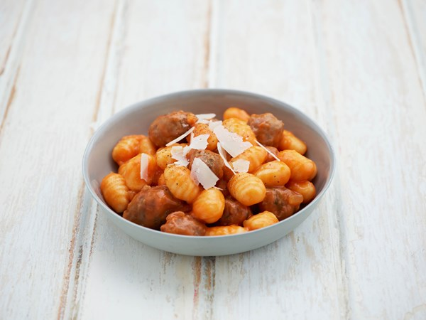 Potato gnocchi with Italian sausage and Parmesan