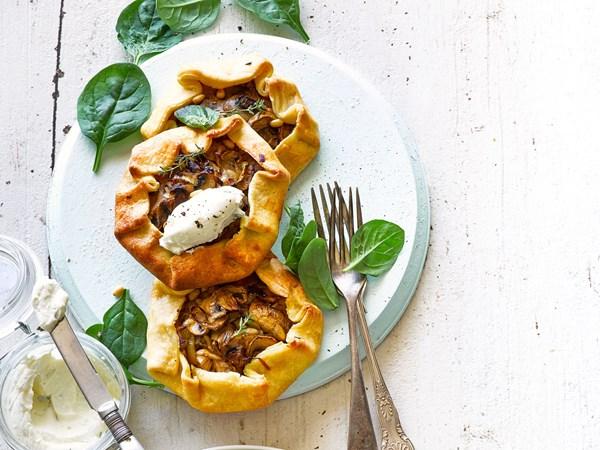Leek and mushroom tarts with whipped feta