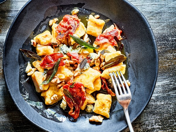 Pumpkin gnocchi with blue cheese and sage