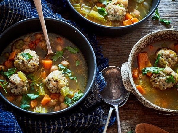 Lemony chicken meatball soup with chickpeas and thyme