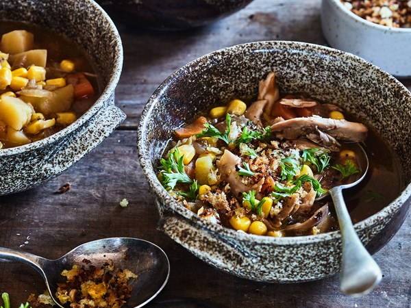 Chicken and corn with thyme crumbs
