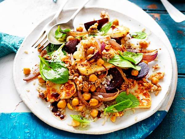 Beetroot, haloumi, chickpea and rice winter salad