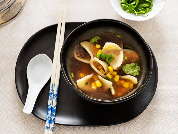 Chicken and sweetcorn dumplings with ginger and soy broth