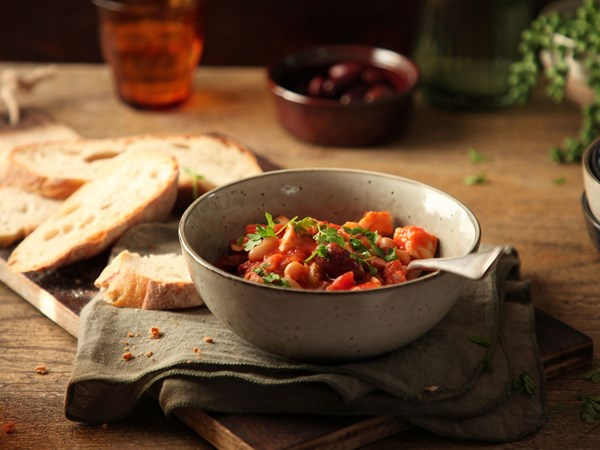 Mediterranean style fish stew with olives