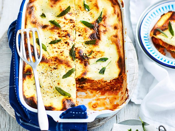Cheat's pork and fennel lasagne