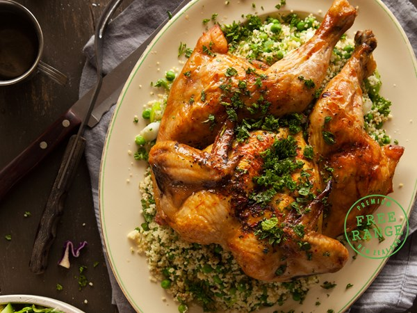 Filipino Pinoy BBQ Chicken with minted pea couscous