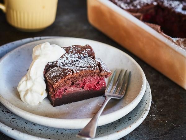Chocolate raspberry custard cake