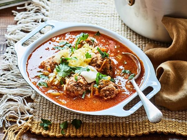 Romanian ciorba de perisoare (sour meatball soup) with sauerkraut