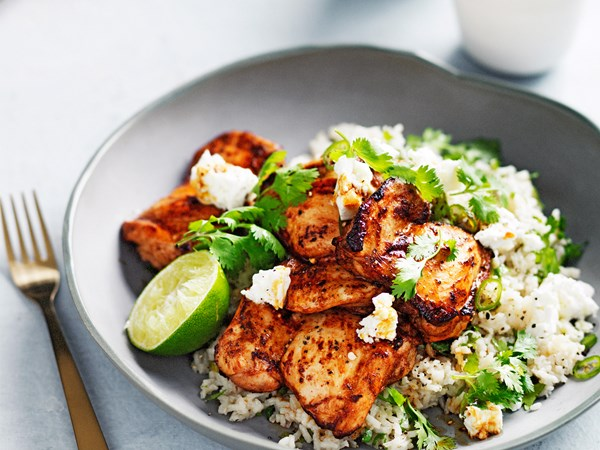 Chipotle-spiced chicken with Mexican green rice